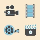 Entertainment icon. Set of cinema equipment icon, flat style Royalty Free Stock Photography