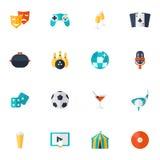 Entertainment Icons Flat Set Stock Images