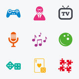 Entertainment icons. Game, bowling and puzzle. Stock Photo