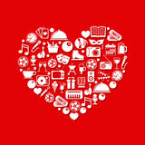 Entertainment icons in heart Stock Image