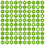 100 entertainment icons hexagon green. 100 entertainment icons set in green hexagon isolated vector illustration Royalty Free Stock Images