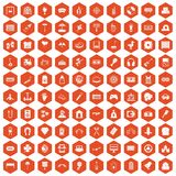 100 entertainment icons hexagon orange. 100 entertainment icons set in orange hexagon isolated vector illustration royalty free illustration