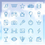 25 entertainment icons. 25 outline, thin entertainment icons Royalty Free Stock Photos