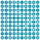 100 entertainment icons sapphirine violet. 100 entertainment icons set in sapphirine hexagon isolated vector illustration vector illustration