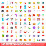 100 entertainment icons set, cartoon style. 100 entertainment icons set in cartoon style for any design vector illustration Royalty Free Stock Images