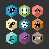 Entertainment icons set flat illustration Stock Image