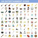 100 entertainment icons set, flat style. 100 entertainment icons set in flat style for any design vector illustration Royalty Free Stock Photos