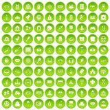 100 entertainment icons set green. 100 entertainment icons set in green circle isolated on white vectr illustration stock illustration