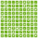 100 entertainment icons set grunge green. 100 entertainment icons set in grunge style green color isolated on white background vector illustration Royalty Free Stock Images