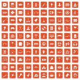 100 entertainment icons set grunge orange. 100 entertainment icons set in grunge style orange color isolated on white background vector illustration Stock Photos