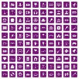 100 entertainment icons set grunge purple. 100 entertainment icons set in grunge style purple color isolated on white background vector illustration Stock Photos