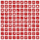 100 entertainment icons set grunge red. 100 entertainment icons set in grunge style red color isolated on white background vector illustration vector illustration