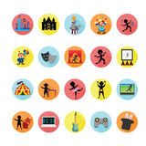 Entertainment icons set. Stock Images