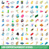 100 entertainment icons set, isometric 3d style Stock Photography