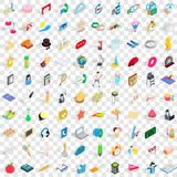 100 entertainment icons set, isometric 3d style. 100 entertainment icons set in isometric 3d style for any design vector illustration Stock Illustration