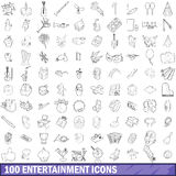 100 entertainment icons set, outline style Royalty Free Stock Photo
