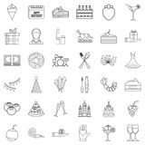 Entertainment icons set, outline style. Entertainment icons set. Outline style of 36 entertainment vector icons for web isolated on white background Royalty Free Stock Images