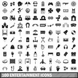 100 entertainment icons set, simple style Royalty Free Stock Photos