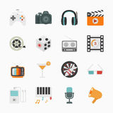 Entertainment Icons with White Background Royalty Free Stock Image