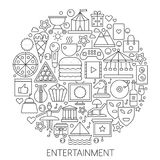 Entertainment infographic icons in circle - concept line vector illustration for cover, emblem, badge. Outline icon set. Royalty Free Stock Photo