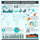 Entertainment Infographics Set. With sport gambling alcohol symbols and charts vector illustration Stock Images
