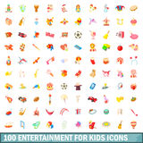 100 entertainment for kids icons set. In cartoon style for any design vector illustration Stock Photography