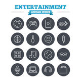 Entertainment linear icons set. Thin outline signs. Entertainment linear icons set. Game console joystick, notebook and microphone symbols. Poker playing card Stock Photography