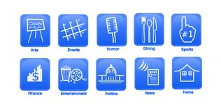 Entertainment and Media Icons. Set of 10 unique icons on blue.  Icons featured are from top left to right: Arts, Events, Humor, Dining, Sports, Finance Royalty Free Stock Image