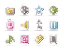 Entertainment and media Icons Stock Images