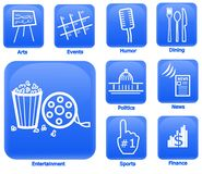 Entertainment and Media Icons. Set of 9 unique icons on blue.  Icons featured are from top left to right: Arts, Events, Humor, Dining, Entertainment, Politics Royalty Free Stock Photography