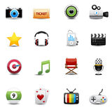 Entertainment and movie icons set Stock Image