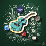 Entertainment and music collage with icons on Royalty Free Stock Photos