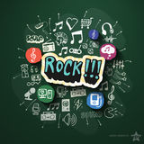 Entertainment and music collage with icons on Royalty Free Stock Photography