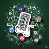 Entertainment and music collage with icons on Royalty Free Stock Images