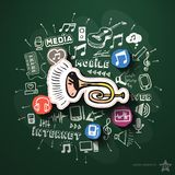Entertainment and music collage with icons on Royalty Free Stock Photo
