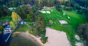 Entertainment near lake. Aerial view, Vilnius Salote lake Stock Photo