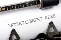 Entertainment News. Typewriter close up shot, concept of Entertainment News Stock Image