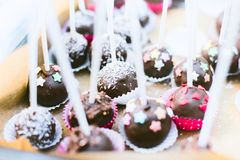 Entertainment for the occasion. Cake pops on the table on a summer day at the festival royalty free stock images