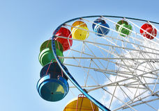 At entertainment park. Part of colourful observing wheel at entertainment park Stock Photo