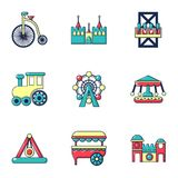Entertainment park icons set, flat style Stock Photography