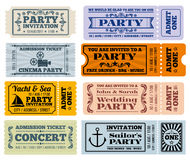 Entertainment, party and cinema vector vintage tickets coupons templates Stock Photography