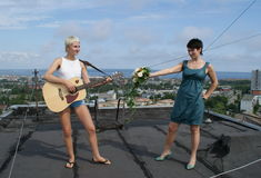 Entertainment on roof Stock Images