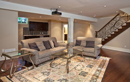 Entertainment room. Modern home entertainment room in the basement Royalty Free Stock Photo
