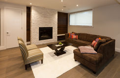 Entertainment room. Basement entertainment room in new luxury house royalty free stock photo