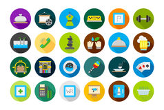 Entertainment round vector icons. Set of 24 entertainment round vector icons Stock Images