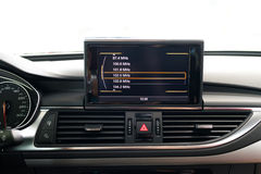 Entertainment system in car. Car interior, entertainment system, LCD screen Royalty Free Stock Photo