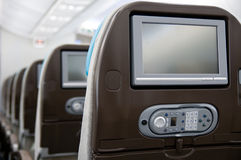 Entertainment system onboard airliner Stock Image
