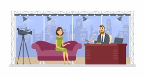 Entertainment talk show - cartoon people character isolated illustration. On white background. A young smiling presenter interviewing a pretty girl, woman in a vector illustration