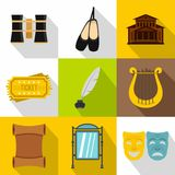 Entertainment in theatre icons set, flat style. Entertainment in theatre icons set. Flat illustration of 9 entertainment in theatre vector icons for web Royalty Free Stock Photography