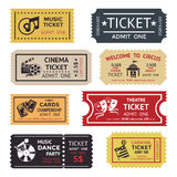 Entertainment Ticket Set. Colored and  entertainment ticket set with different texts colors sizes and styles vector illustration Royalty Free Stock Image